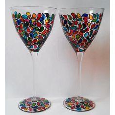 Artist Hand Painted Pair Premium Glasses with Fruitdrop Design