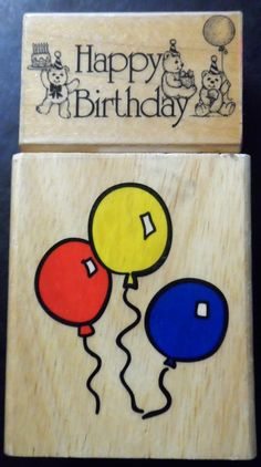 Happy Birthday Rubber Stamps Lot 2 Two Balloons Wood Mount Scrapbooking crafts  #HeroArts #Background