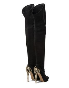 Australian Boots Gold Chain Heel Genuine Leather High Heels Suede knee High | Awesome World - Online Store