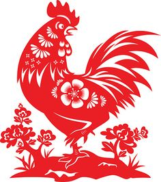 Year of the Rooster Papercut 벡터 아트 일러스트 Stencil Art, Stencils, Chicken Art, Chicken Crafts, Chinese Paper Cutting, Chinese Cartoon, Rooster Art, Chinese Astrology, Tattoo Flash Art