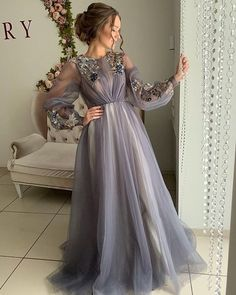 Long Sleeves New Arrival Tulle Long Modest Gray Prom Dresses with Appliques, Prom Dress Hijab Evening Dress, Hijab Dress Party, Dress Prom, Muslim Prom Dress, Muslim Evening Dresses, Swag Dress, Evening Gowns, Elegant Dresses, Pretty Dresses