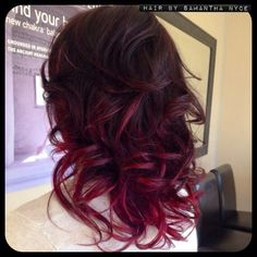 Purple to red color melt! Had a fabulous time taking a previously done ombré and kicking it up a notch. Aveda color was used in this process. Dye My Hair, New Hair, Up Hairstyles, Pretty Hairstyles, Hairstyle Ideas, Couleur Aveda, Piercing Tattoo, Piercings, Red Ombre Hair