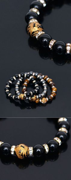 Mens Gold Dragon Jewel Gemstone Beads-Bracelet 315 by Guylook.com