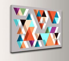 "Geometric Wall Art - Mid Century Print - Triangles - Vintage Modern Wall Decor - ""Adjacent"" on Etsy, $79.00"