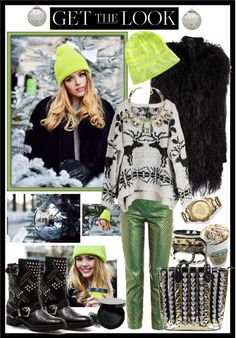 """""""Get the look : neon hat"""" by emilymiller ❤ liked on Polyvore"""