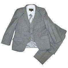 5113c5900 Raphael Little Boys Gray Classic Formal 5 Pcs Vest Shirt Tie Suit 2T-7