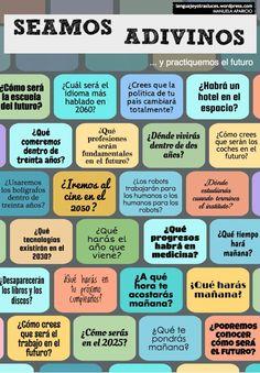 Seamos adivinos... y practiquemos el futuro en español Ahora eres un adivino capaz de predecir el futuro, de saber cómo será la escuela, cuál será el idioma más hablado en 2016 y muchas cosas más. ...