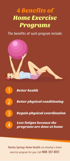 4 Benefits of Home Exercise Programs  #homeexercise www.bonitaspringshomehealth.com