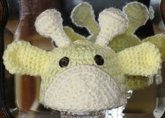 Newborn  Hand Crocheted Baby Giraffe Hat in Light Yellow by EEECrafter, $14.99