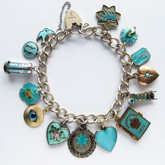 Charm bracelet with antique and vintage enamel and crystal aqua and turquoise charms | Silver Star Charms