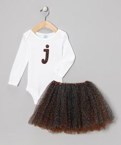 Take a look at this White Initial Cheetah Bodysuit & Brown Tutu by Reesey Roo's on #zulily today! Adorable set perfect for any occasion.  The detailed embroidered initial applique matches the full leopard tutu that will grow with your little girl.