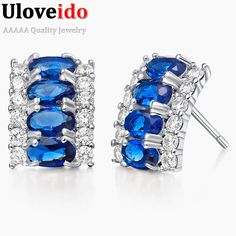 Find More Stud Earrings Information about Sale 2016 New Silver Jewelry Stud Earrings for Women Brinco Sapphire Jewelry Crystal Earrings with Blue Stones Wedding Anel R784,High Quality earrings goth,China earings Suppliers, Cheap earrings model from D&C Fashion Jewelry Buy to Get a Free Gift on Aliexpress.com