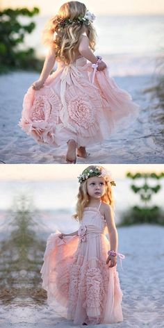cute pink flower girl dresses, a line spaghetti straps baby dresses, backless little girl dresses with flowers