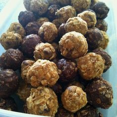 HEALTHY BALLS.....these are super good and super healthy! Recipe: 1 2/3 cups of oats/oatmeal 1/2 cup peanut butter or nutella 1/2 cup flax seed/wheat germ 1/2 cup chocolate chips 1/3 cup honey 1 teaspoon vanilla Mix everything in a bowl with your hands (not a spoon because is does NOT work) roll in to little balls refrigerate for about 5-10 minutes than serve!:)