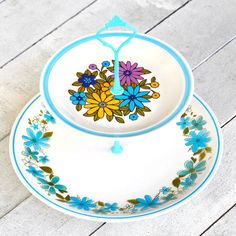 {Charm Cake Stand} Fresh Pastry Stand - repurposed vintage china plates made into a cake stand! love!