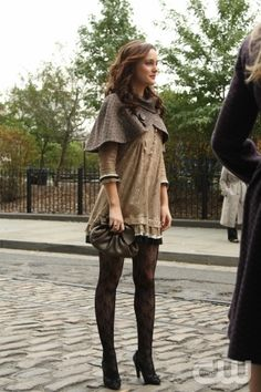 Neutrals and lace tights - Leighton Meester