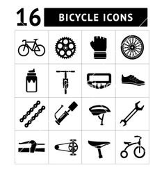 Set icons of bicycle biking bike parts vector by motorama - Image ...