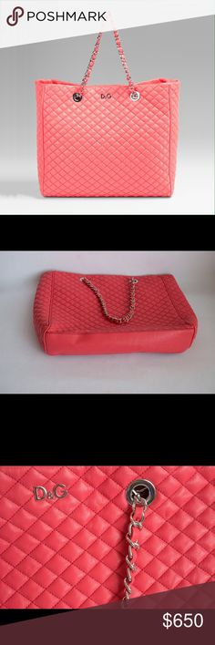 D&G Dolce&Gabbana Lily Glam Quilted Leather Bag Excellent condition. H 13.1 x W 14.3 x D 4.3. Made in Italy. D&G Bags Totes