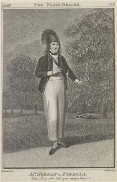 Portrait of Mrs Jordan as Fidella in Act III, Scene 1 of The Plain-Dealer. Engraving, published 15th August 1795. V&A S.599-2009.