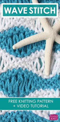 How to Knit the Sea Foam Wave Drop Knit Stitch Pattern with free knitting pattern and video tutorial by Studio Knit via @StudioKnit #StudioKnit