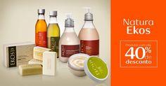 Confira os descontos especiais dos produtos da linha Natura Ekos e aproveite para comprar online em meu espaço e ganhar brinde nas compras acima de R$ 150.