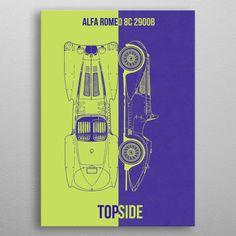 """Beautiful """"Alfa Romeo metal poster created by DESIGN. Our Displate metal prints will make your walls awesome. Alfa Romeo 8c, Car Posters, Ferrari, Lamborghini, Poster Prints, Luxury, Metal, Design, Cars"""
