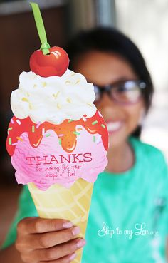 "End of year teacher gift idea: ""Thanks for making this year scoops of fun."" Attach your favorite gift card, and you're all set #gift #teacher skiptomylou.org"