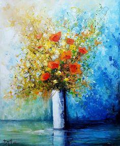 ©Bruni Eric - Bouquet de fleurs Esperanza Art Original, Abstract Flowers, Art Floral, Flower Art, Still Life, Art Gallery, Artwork, Prints, Color