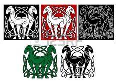 noeud celtique: Chevaux celtiques avec des éléments décoratifs et des modèles Illustration