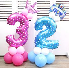 [Visit to Buy] Large pink blue number foil balloons aluminum helium ballon Happy birthday party decoration Wedding globos supplies Baby Birthday Decorations, Wedding Balloon Decorations, Kids Party Decorations, Wedding Decoration, Baby Shower Balloons, Birthday Balloons, Baby Ballons, Baloons Wedding, Party Wedding