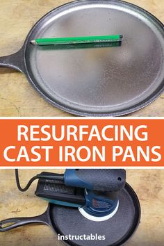 Resurface a cast iron pan so it has a nice smooth surface that a spatula can easily glide across. Cast Iron Care, Cast Iron Pot, Cast Iron Dutch Oven, Cast Iron Cookware, It Cast, Household Cleaning Tips, Cleaning Hacks, Cleaning Solutions, Outlet Store