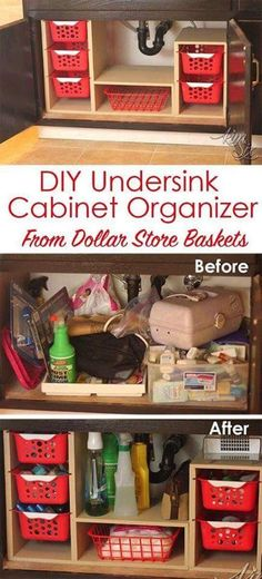 From a single sheet of plywood and some dollar store bins she built this fabulous organizer. What a great way to use all that awkward space under the sink! Undersink Cabinet Organizer with Pull Out (Diy Organization) Organisation Hacks, Storage Organization, Organizing Tips, Storage Baskets, Craft Storage, Organising, Small Storage, Storage Design, Under Sink Organization Bathroom