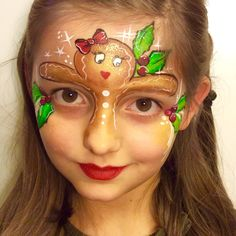 Weihnachtsmotiv Lebkuchen - New Ideas Christmas Face Painting, Christmas Photo Booth, Face Painting Designs, Christmas Makeup, Creative Makeup, Cute Faces, Painting For Kids, Face And Body, Halloween Face