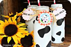 Oink! The Blog » {challenge tutorial} moo milk bottles - cute for a barnyard birthday party