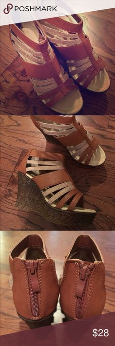 HOT! New Brown Cork Wedges JUST FAB 7.5 NEW Brown and Tan Cork Wedges JUST FAB 7.5 JustFab Shoes Wedges