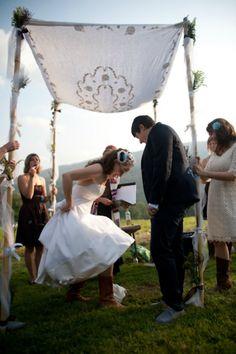 Jewish wedding breaking glass under the chuppa. We broke the glass. Now wish we had made a chuppa.