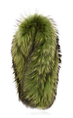 b14563ddc92 Olive green raccoon cuff by CHARLOTTE SIMONE for Preorder on Moda Operandi  Silk Shawl