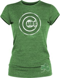 Chicago Cubs Ladies Tri-Blend 'Luck' Shirt by 5th & Ocean | Sports World Chicago $29.95