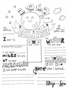 2017 Solar Eclipse Coloring page also known as an Eclipse Graphic Organizer makes a cute way to record this very special event.