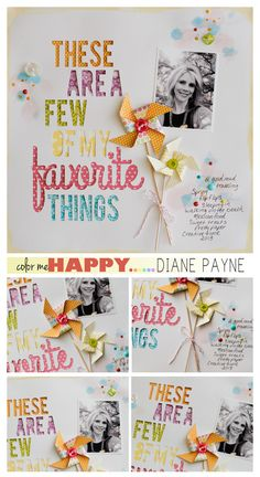30 - This layout makes me soo happy! Create a layout where your multi-word title is cut out of your background with a different patterned paper showing through each word! - 2 pts.