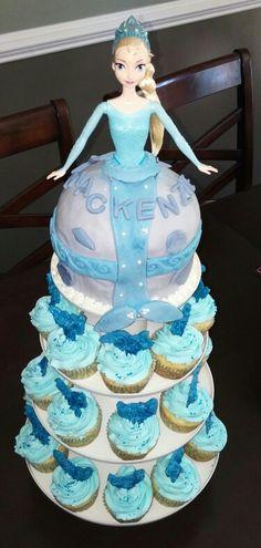 Elsa mermaid cake with mermaid tail cupcakes
