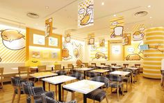 Sanrio's lazy egg character appears on menu items at new Gudetama Cafe in Osaka Cafe Interior, Best Interior Design, Okinawa, Cute Coffee Shop, Coffee Shops, Egg Shop, Hotels For Kids, Lazy Egg, Kids Cafe