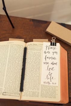 love this guest book idea! Especially for a Christian couple/wedding  Each guest needs to initial the verse they choose so the Bride/Groom know who suggested it.