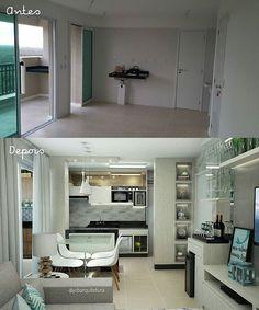 Antes e depois 😊! A cozinha aberta para a sala é uma solução prática. O segredo está em delimitar de forma sutil os espaços, adotando móveis em comum aos dois ambientes. Assim, tudo fica conectado! 😊😊😊😊😊😊 💙 💙 💙 💙 #jobarquiteturanatal #jobs #arqjanainaoliveirabezerra #arquiteturadeinteriores #arquitetura #decor #amooquefaco #design #details #integração #salaecozinha #vempraca #arquiteturaismyjob #geraçãocarolcantelli