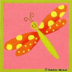 Melissa Shirley Designs | Hand Painted Needlepoint | Orange Dragonfly © Debbie Mumm