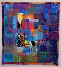 Hand-stitched contemporary quilt by Debbie Babin