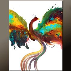 Abstract Bird Painting Original Contemporary Art on by wostudios