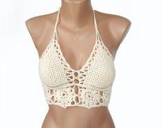 Crochet cream bikini top , Open back sexy halter top , Festival crochet bikini top , Crop top , Crochet bra top size A cup