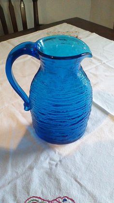 Vintage Rare Cobalt Blue Glass Pitcher Handblown Ripple Glass by TheWhimsicalDust on Etsy