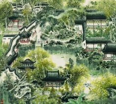 An ink painting of Garden of Master of Net, Suzhou